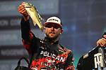 HOT SPRINGS, AR - AUGUST 12: Pelican pro Zach Birge weighing in his fish from day three of the FLW Forrest Wood Cup on Lake Ouachita in Hot Springs, Arkansas. (Photo by Justin Manning/Eclipse Sportswire/Getty Images)
