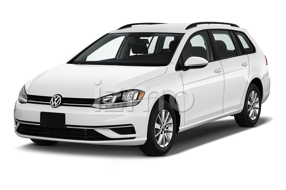 2019 Volkswagen Golf SportWagen S 5 Door Wagon angular front stock photos of front three quarter view