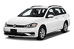 2019 Volkswagen Golf SportWagen S 5 Door Wagon angular front stock photos of front three quarter view