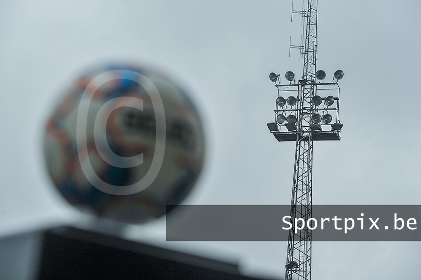 Light post of the Pierre Cornelis stadium pictured before a female soccer game between Eendracht Aalst and OHL on the 13 th matchday of the 2020 - 2021 season of Belgian Scooore Womens Super League , Saturday 6 th of February 2021  in Aalst , Belgium . PHOTO SPORTPIX.BE | SPP | STIJN AUDOOREN