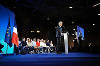 Meeting de FranÁois Fillon ‡ Lyon Eurexpo, France, 12 avril 2017. 10000 participants selon les organisateurs. Discours de Laurent Wauquiez, PrÈsident de la rÈgion Auvergne Rhone Alpes.