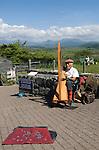 Senior busker. Welsh harp player Harlech. Gwynedd North Wales UK.