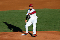 Wisconsin Timber Rattlers pitcher Marcos Diplan (18) on the mound during a Midwest League game against the Lansing Lugnuts on April 29th, 2016 at Fox Cities Stadium in Appleton, Wisconsin.  Wisconsin defeated Lansing 2-0. (Brad Krause/Four Seam Images)