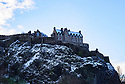 Edinburgh Castle is dusted with snow as Edinburgh gets its first snow, in the first Covid Winter. Edinburgh has been placed in Tier 4 restrictions due to the Covid-19 pandemic.