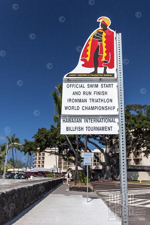 """Official Swim Start and Run Finish Ironman Triathlon World Championship"" sign, Kailua, Big Island."