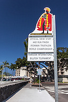 """Official Swim Start and Run Finish Ironman Triathlon World Championship"" sign, Kailua, Big Island."