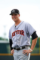 Jupiter Hammerheads third baseman Brian Anderson (31) during warmups before a game against the Lakeland Flying Tigers on April 14, 2016 at Henley Field in Lakeland, Florida.  Lakeland defeated Jupiter 5-0.  (Mike Janes/Four Seam Images)