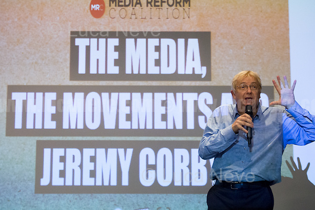 """Greg Philo (Professor and Director of Glasgow University Media Unit).<br /> <br /> London, 15/09/2016. Today, """"Media Reform Coalition"""", held a meeting at Student Central in Malet street called """"The Media, The Movements and Jeremy Corbyn"""". From the organisers press release: <<[…] As part of the Media Reform Coalition's ongoing campaign for a media that informs, represents and empowers the public, this event will bring together media activists, workers and scholars to explore the media's misrepresentation of progressive movements and voices and shape a response that does them justice […]>>. <br /> Speakers included: Ken Loach, film and television Director; Justin Schlosbergd, media activist, researcher and Lecturer at Birkbeck University of London; Greg Philo, Professor and Director of Glasgow University Media Unit; Kam Sandhu, co-founder of Real Media; Chris Nineham, National Officer of Stop The War Coalition; James Schneider, National Organiser of Momentum; Angela Towers member of No More Page 3 Campaign; Des Freedman Chair of the event, member of the Media Reform Coalition and Professor of Media and Communications in the Department of Media and Communications at Goldsmiths, University of London.<br /> <br /> For more information please click here: http://www.mediareform.org.uk/blog/5-myths-corbyn-media-bias-labour & https://www.facebook.com/MediaReformUK/?fref=ts<br /> <br /> For the Video of the Event please click here: https://www.youtube.com/watch?v=mNbRpjy51Io"""