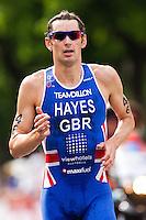 24 JUN 2012 - KITZBUEHEL, AUT - Stuart Hayes (GBR) of Great Britain during the run at the elite men's 2012 World Triathlon Series round in Schwarzsee, Kitzbuehel, Austria .(PHOTO (C) 2012 NIGEL FARROW)