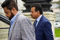 Pictured: Khitish Mohanty (right) arrives at Cardiff Crown Court, Cardiff, Wales, UK. Monday 07 October 2019<br />