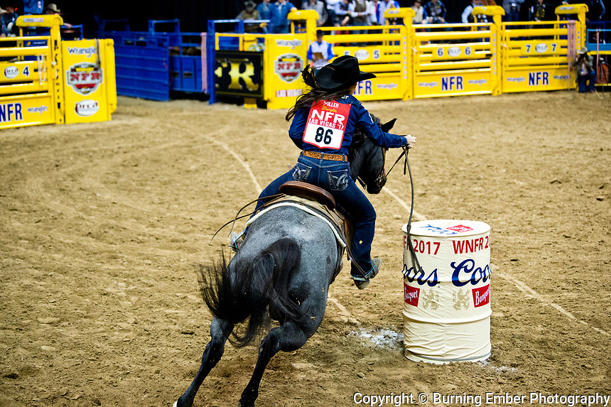 Nellie Miller in the Barrel Racing event during the Wrangler National Finals Rodeo 1st round December 7th, 2017.  Photo by Josh Homer/Burning Ember Photography.  Photo credit must be given on all uses.