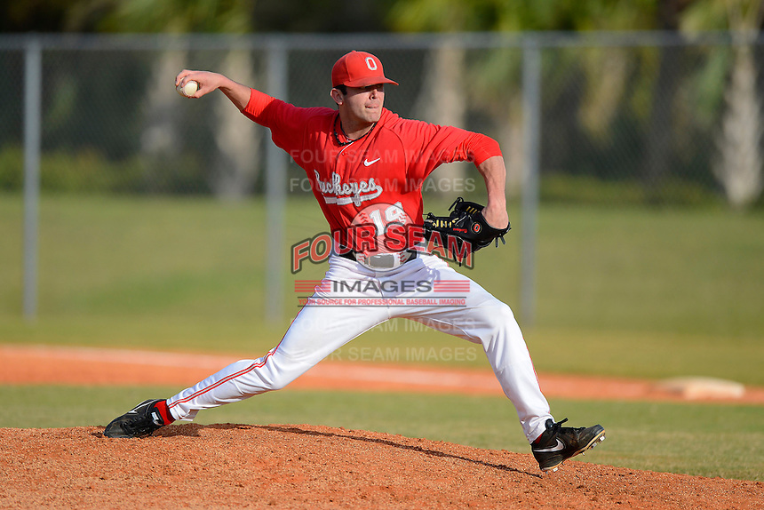 Ohio State Buckeyes pitcher Trace Dempsey #19 during a game against the South Dakota State Jackrabbits at North Charlotte Regional Park on February 23, 2013 in Port Charlotte, Florida.  Ohio State defeated South Dakota State 5-2.  (Mike Janes/Four Seam Images)