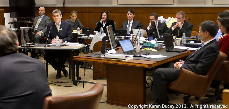 Jeff Hansen, Co-Director of Sea Shepherd Australia, is surrounded by a sea of defense lawyers during his testimony in the United States Court of Appeals, Ninth Circuit in Seattle, Washington on November 6, 2013. Japanese whalers, researchers and other Japanese seafood business leaders '?? including The Institute of Cetacean Research, Kyodo Senpaku Kaisha, Ltd., Tomoyuki Ogawa, Toshiyuki Miura and Hiroyuki Komura accuse the Sea Shepherd ships of disrupting their whale hunt in the Southern Ocean thereby violating an injunction they brought up against him issued by the court in December 2012. (copyright Karen Ducey/KarenDucey.com)