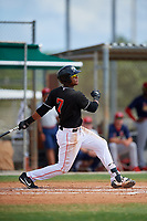 GCL Marlins third baseman Christopher Rodriguez (7) follows through on a swing during a game against the GCL Cardinals on August 4, 2018 at Roger Dean Chevrolet Stadium in Jupiter, Florida.  GCL Marlins defeated GCL Cardinals 6-3.  (Mike Janes/Four Seam Images)