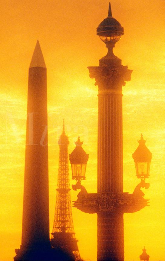France, Paris. The Eiffel Tower, ornate lamp post and Obelisk, Place de la  Concorde