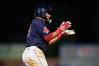 Lowell Spinners third baseman Jonathan Ortega (29) celebrates during a game against the Vermont Lake Monsters on August 25, 2018 at Edward A. LeLacheur Park in Lowell, Massachusetts.  Vermont defeated Lowell 4-3.  (Mike Janes/Four Seam Images)