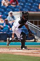 Kannapolis Cannon Ballers catcher Adam Hackenberg (29) on defense against the Lynchburg Hillcats at Atrium Health Ballpark on August 29, 2021 in Kannapolis, North Carolina. (Brian Westerholt/Four Seam Images)