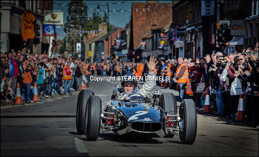 Photo by © Stephen Daniels<br /> Damon Hill driving car no 2 in memory of his father Graham Hill and also remembering BRM F1 team which was based in Bourne in Lincolnshire.