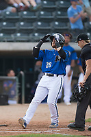 Missoula Osprey first baseman Joe Robbins (26) celebrates as he crosses home plate in front of home plate umpire Matt Herrera after hitting a home run during a Pioneer League game against the Orem Owlz at Ogren Park Allegiance Field on August 19, 2018 in Missoula, Montana. The Missoula Osprey defeated the Orem Owlz by a score of 8-0. (Zachary Lucy/Four Seam Images)
