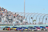 Monster Energy NASCAR Cup Series<br /> Ford EcoBoost 400<br /> Homestead-Miami Speedway, Homestead, FL USA<br /> Sunday 19 November 2017<br /> Martin Truex Jr, Furniture Row Racing, Bass Pro Shops / Tracker Boats Toyota Camry and Kyle Busch, Joe Gibbs Racing, M&M's Caramel Toyota Camry<br /> World Copyright: Nigel Kinrade<br /> LAT Images