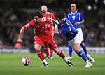 Simon Davies (Capt) under pressure.  Wales v Azerbaijan.Group 4, 2010 World Cup Qualifier. © Ian Cook IJC Photography iancook@ijcphotography.co.uk www.ijcphotography.co.uk