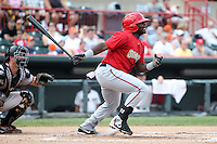Harrisburg Senators Leonard Davis #23 during a game against the Erie SeaWolves at Jerry Uht Park on August 7, 2011 in Erie, Pennsylvania.  Harrisburg defeated Erie 6-1.  (Mike Janes/Four Seam Images)