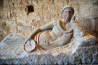 Etruscan coffins in the 8th century Romanesque Basilica church of St Peters, Tuscania, Lazio, Italy