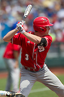 North Carolina State outfielder Brett Williams (3) at bat during Game 3 of the 2013 Men's College World Series between the North Carolina State Wolfpack and North Carolina Tar Heels at TD Ameritrade Park on June 16, 2013 in Omaha, Nebraska. The Wolfpack defeated the Tar Heels 8-1. (Andrew Woolley/Four Seam Images)