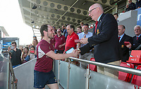 Monday 22nd April 2019 | 2019 Ulster Towns Cup Final<br /> <br /> Ashley Finlay receives his winners medal from Ulster Branch President Stephen Elliott after the Ulster Towns Cup final between Enniskillen and Ballyclare at Kingspan Stadium, Ravenhill Park, Belfast. Northern Ireland. Photo John Dickson/Dicksondigital