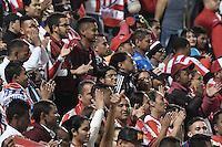 BOGOTÁ -COLOMBIA, 04-02-2017. Hinchas de Junior animan a su equipo durante el encuentro entre La Equidad y Atlético Junior por la fecha 1 de la Liga Águila I 2017 jugado en el estadio Metropolitano de Techo de la ciudad de Bogotá./ Fans of Junior cheer for their team during the match between La Equidad and Atletico Junior for the date 1 of the Aguila League I 2017 played at Metropolitano de Techo stadium in Bogotá city. Photo: VizzorImage/ Gabriel Aponte / Staff