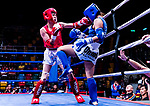 Umeo Mei (Red) of Japan fights against Pan Ting Wei (Blue)  of Taiwan in the female muay 51KG division weight bout during the East Asian Muaythai Championships 2017 at the Queen Elizabeth Stadium on 11 August 2017, in Hong Kong, China. Photo by Yu Chun Christopher Wong / Power Sport Images