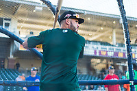 AFL East outfielder Luis Barrera (7), of the Mesa Solar Sox and Oakland Athletics organization, during batting practice before the Arizona Fall League Fall Stars game at Surprise Stadium on November 3, 2018 in Surprise, Arizona. The AFL West defeated the AFL East 7-6 . (Zachary Lucy/Four Seam Images)