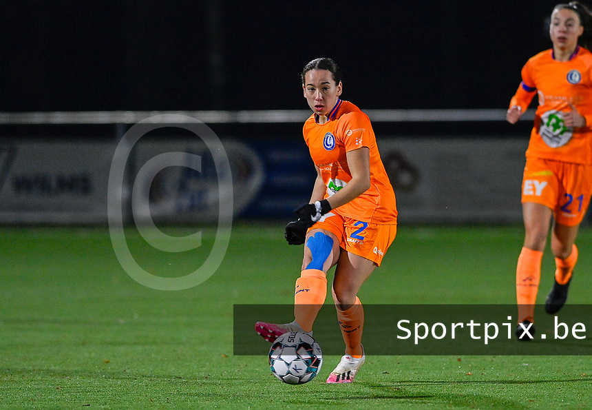 Rkia Mazrouai (2) of AA Gent pictured in action during a female soccer game between  Racing Genk Ladies and AA Gent Ladies on the eleventh matchday of the 2020 - 2021 season of Belgian Scooore Womens Super League , friday 22 th of January 2021  in Genk , Belgium . PHOTO SPORTPIX.BE | SPP | DAVID CATRY