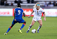HOUSTON, TX - JANUARY 28: Julie Ertz #8 of the United States dribbles during a game between Haiti and USWNT at BBVA Stadium on January 28, 2020 in Houston, Texas.