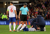 Dusan Tadic of Serbia receives first aid by team physiotherapists after being injured on the face during the 2018 FIFA World Cup Qualifier between Wales and Serbia at the Cardiff City Stadium, Wales, UK. Saturday 12 November 2016