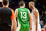 Real Madrid's player Anthony Randolph and Unics Kazan's player Marko Basic having some words at the end match of Turkish Airlines Euroleague at Barclaycard Center in Madrid. November 24, Spain. 2016. (ALTERPHOTOS/BorjaB.Hojas)