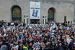 Swansea City FC fans outside the Brangwyn Hall in Swansea tonight during celebrating in the city after their Capital Cup win in Wembley at the weekend.