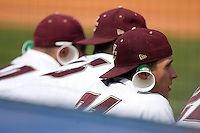 Dave Laufer #31 and his teammates wear their rally ears during Game 4 of the 2010 ACC Baseball Tournament against the Miami Hurricanes at NewBridge Bank Park May 27, 2010, in Greensboro, North Carolina.  The Eagles defeated the Hurricanes 12-10 in 12 innings.  Photo by Brian Westerholt / Four Seam Images