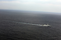 A Japan Coast Guard vessel patrols the seas south of Okinawa, Japan. 2012