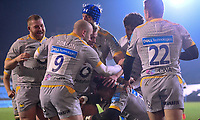 8th January 2021; Recreation Ground, Bath, Somerset, England; English Premiership Rugby, Bath versus Wasps; Paolo Odogwu of Wasps celebrates with his teams after scoring a try