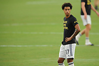 WASHINGTON, DC - AUGUST 25: Gustavo Bou #7 of New England Revolution warming up during a game between New England Revolution and D.C. United at Audi Field on August 25, 2020 in Washington, DC.