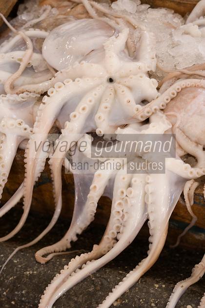 Afrique/Afrique du Nord/Maroc/Rabat: poulpes sur un étal de sur le marché central