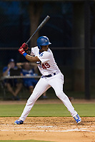 AZL Dodgers right fielder Kevin Aponte (49) at bat during an Arizona League game against the AZL Angels at Camelback Ranch on July 8, 2018 in Glendale, Arizona. The AZL Dodgers defeated the AZL Angels by a score of 5-3. (Zachary Lucy/Four Seam Images)