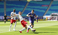 16th May 2020, Red Bull Arena, Leipzig, Germany; Bundesliga football, Leipzig versus FC Freiburg;  Marcel Halstenberg RBL in action against Christian Guenter