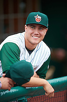 Fort Wayne TinCaps first baseman Brad Zunica (35) before the second game of a doubleheader against the Great Lakes Loons on May 11, 2016 at Parkview Field in Fort Wayne, Indiana.  Great Lakes defeated Fort Wayne 5-0.  (Mike Janes/Four Seam Images)