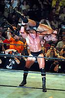 Brock Lesnar vs Dwayne The Rock Johnson 2002 Photo By John Barrett/PHOTOlink / MediaPunch