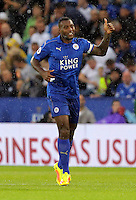 Pictured: Wes Morgan of Leicester City celebrates his opening goal Saturday 27 August 2016<br /> Re: Swansea City FC v Leicester City FC Premier League game at the King Power Stadium, Leicester, England, UK