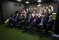 Pictured: Guests and dignitaries watch a brief program in the analysis suite  Tuesday 04 April 2017<br /> Re: Official opening of the Fairwood Training Complex of Swansea City FC, Wales, UK