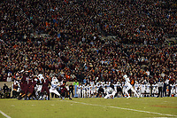 BLACKSBURG, VA - OCTOBER 19: Noah Ruggles #97 of the University of North Carolina attempts a field goal during the third overtime during a game between North Carolina and Virginia Tech at Lane Stadium on October 19, 2019 in Blacksburg, Virginia.