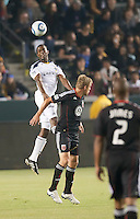 LA Galaxy defender Yohance Marshall (5) goes up high to head the ball during the first half of the game between LA Galaxy and the D.C. United at the Home Depot Center in Carson, CA, on September 18, 2010. LA Galaxy 2, D.C. United 1.
